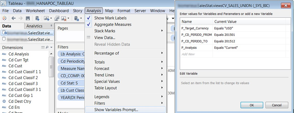 Tableau On Hana Input Parameters Prompts