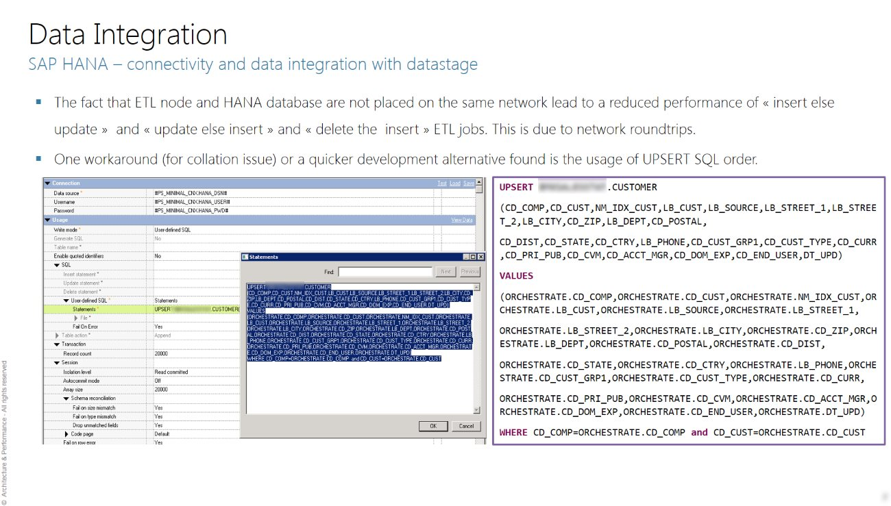 HANA and Datastage Upsert