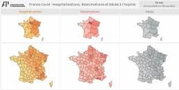 COVID Hospitalisations, Réanimations et Décès en France par départements